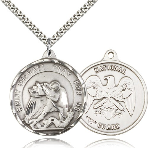 "St. Joseph National Guard Medal, Sterling Silver - 24"" 2.4mm Rhodium Plate Endless Chain"