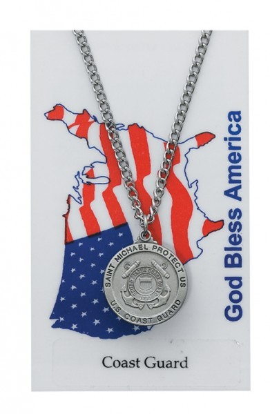 Round St. Michael Coast Guard Medal and Prayer Card Set - Silver-tone