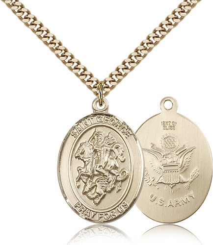 "St. George Army Medal, Gold Filled, Large - 24"" 2.4mm Gold Plated Chain + Clasp"