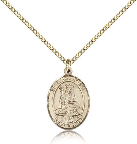 St. Walburga Medal, Gold Filled, Medium - Gold-tone