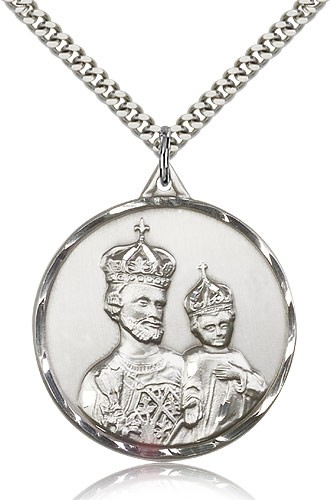 "St. Joseph Medal, Sterling Silver - 24"" 2.4mm Rhodium Plate Endless Chain"