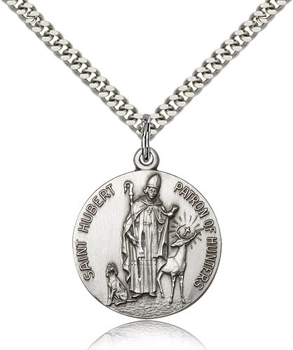 "Men's Round Sterling Silver St. Hubert of Liège Medal - 24"" 2.4mm Rhodium Plate Endless Chain"