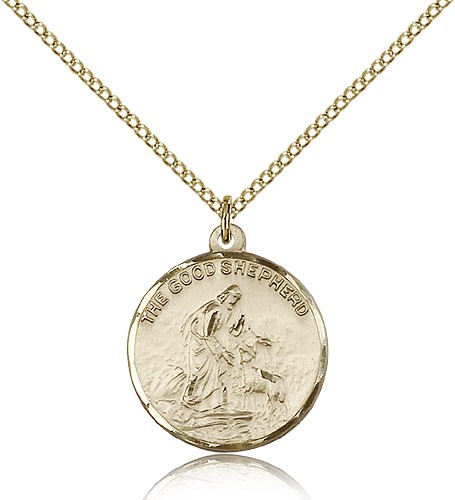 Good Shepherd Medal, Gold Filled - Gold-tone