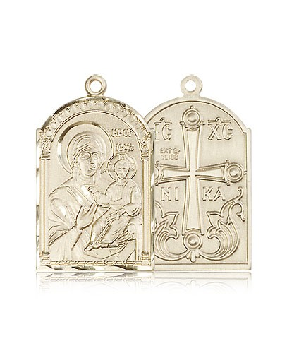 Mother of God Medal, 14 Karat Gold - 14 KT Yellow Gold