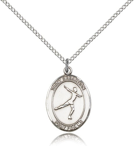 "St. Sebastian Figure Skating Medal, Sterling Silver, Medium - 18"" 1.2mm Sterling Silver Chain + Clasp"