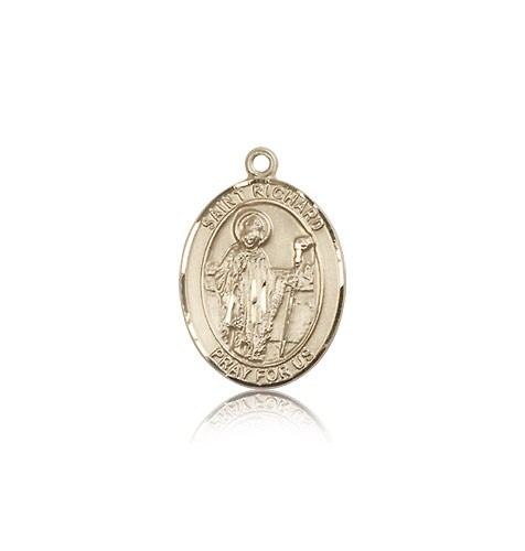 St. Richard Medal, 14 Karat Gold, Medium - 14 KT Yellow Gold