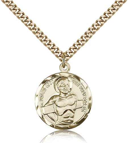 "Dismas Medal, Gold Filled - 24"" 2.4mm Gold Plated Endless Chain"