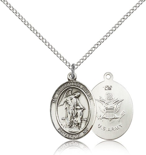 "Guardian Angel Army Medal, Sterling Silver, Medium - 18"" 1.2mm Sterling Silver Chain + Clasp"