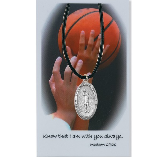 Boy's St. Christopher Basketball Medal with Leather Chain and Prayer Card Set - Silver-tone
