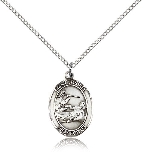 "St. Joshua Medal, Sterling Silver, Medium - 18"" 1.2mm Sterling Silver Chain + Clasp"