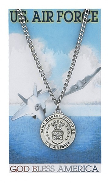 Round St. Michael Air Force Medal and Prayer Card Set - Silver-tone