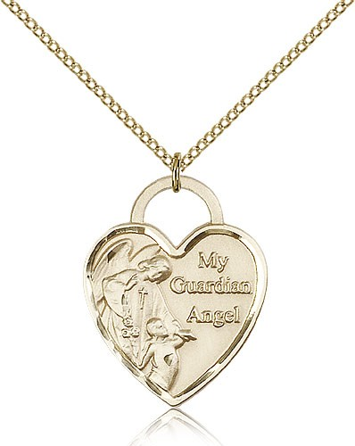 Guardian Angel Heart Medal, Gold Filled - Gold-tone