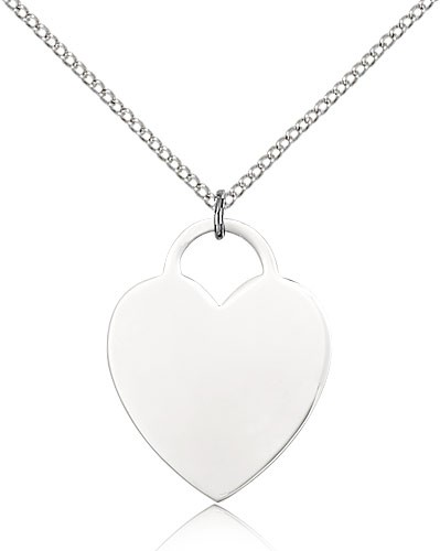 "Heart Medal, Sterling Silver - 18"" 1.2mm Sterling Silver Chain + Clasp"