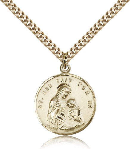 "St. Ann Medal, Gold Filled - 24"" 2.4mm Gold Plated Endless Chain"