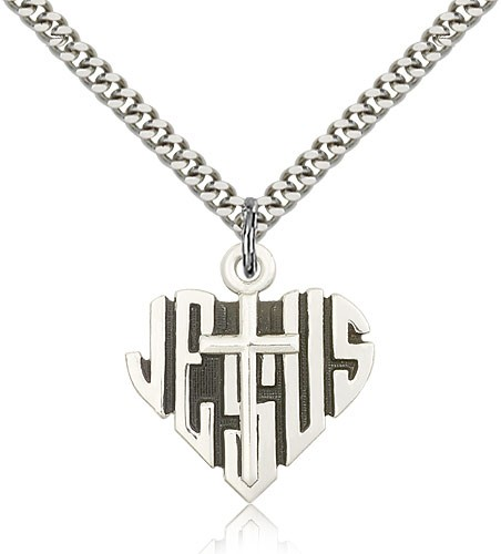 "Heart of Jesus Cross Pendant, Sterling Silver - 24"" 2.4mm Rhodium Plate Endless Chain"