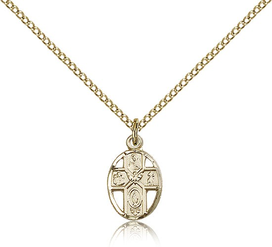 5 Way Cross Pendant, Gold Filled - Gold-tone