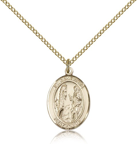 St. Genevieve Medal, Gold Filled, Medium - Gold-tone