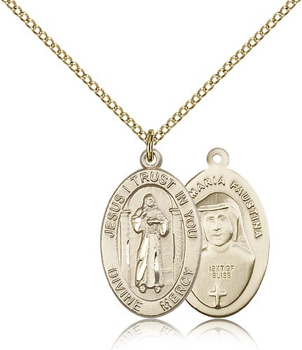 Divine Mercy Medal, Gold Filled - Gold-tone