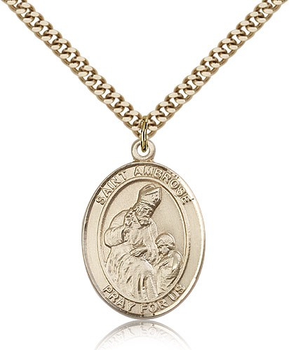 "St. Ambrose Medal, Gold Filled, Large - 24"" 2.4mm Gold Plated Chain + Clasp"