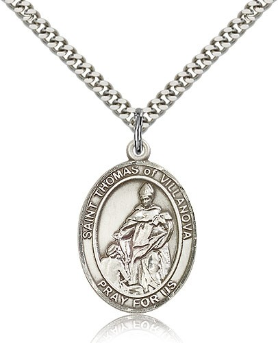 "St. Thomas of Villanova Medal, Sterling Silver, Large - 24"" 2.4mm Rhodium Plate Chain + Clasp"