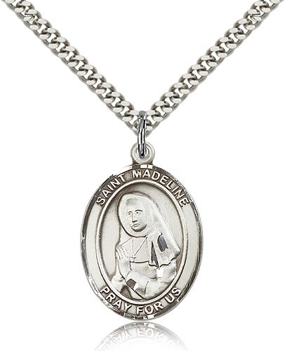 "St. Madeline Sophie Barat Medal, Sterling Silver, Large - 24"" 2.4mm Rhodium Plate Chain + Clasp"