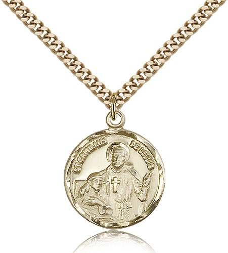 "St. Camillus of Lellis Medal, Gold Filled - 24"" 2.4mm Gold Plated Endless Chain"