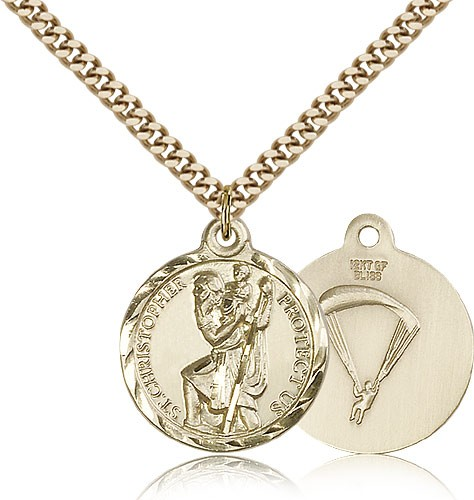 "St. Christopher Paratrooper Medal, Gold Filled - 24"" 2.4mm Gold Plated Endless Chain"