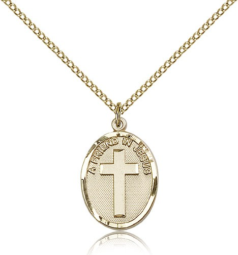 A Friend In Jesus Medal, Gold Filled - Gold-tone