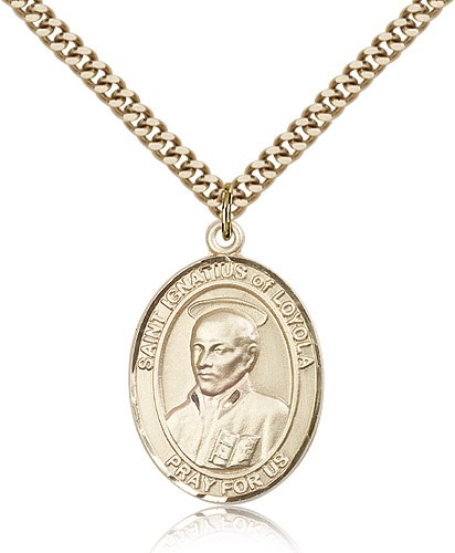 "St. Ignatius of Loyola Medal, Gold Filled, Large - 24"" 2.4mm Gold Plated Chain + Clasp"