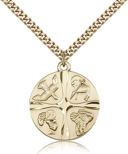 Christian Life Medal, Gold Filled - Gold-tone