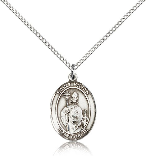 "St. Kilian Medal, Sterling Silver, Medium - 18"" 1.2mm Sterling Silver Chain + Clasp"