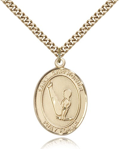 "St. Christopher Gymnastics Medal, Gold Filled, Large - 24"" 2.4mm Gold Plated Chain + Clasp"