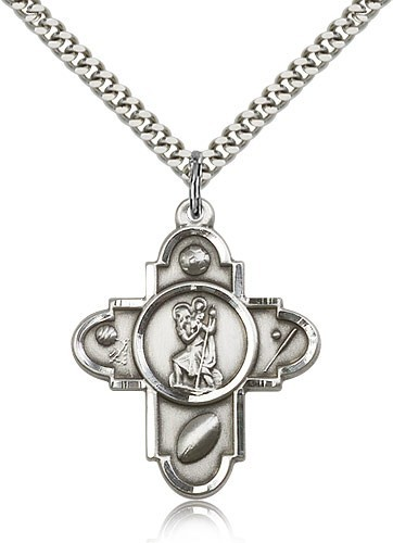 "St. Christopher Sports 5-Way Medal with Hockey - 24"" 2.4mm Rhodium Plate Chain + Clasp"