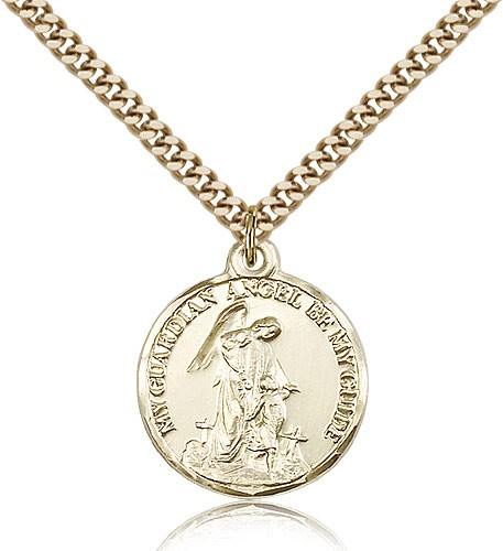 "Guardian Angel Medal, Gold Filled - 24"" 2.4mm Gold Plated Endless Chain"