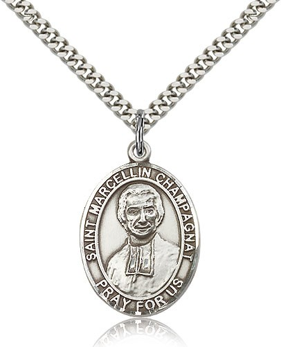 "St. Marcellin Champagnat Medal, Sterling Silver, Large - 24"" 2.4mm Rhodium Plate Chain + Clasp"
