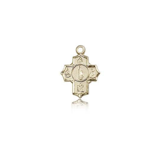 5 Way Cross Motherhood Medal, 14 Karat Gold - 14 KT Yellow Gold