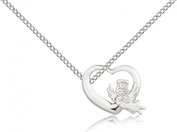 "Heart Guardian Angel Medal, Sterling Silver - 18"" 1.2mm Sterling Silver Chain + Clasp"