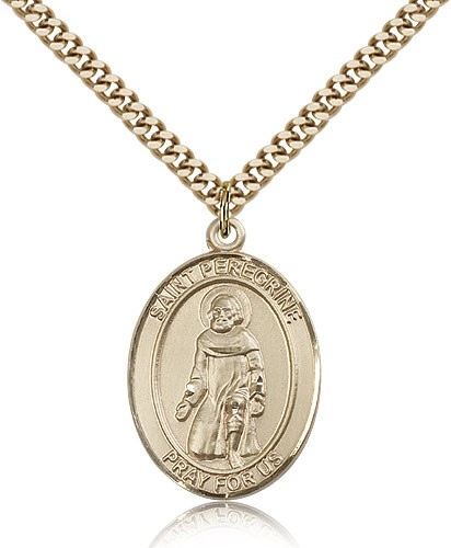 "St. Peregrine Laziosi Medal, Gold Filled, Large - 24"" 2.4mm Gold Plated Chain + Clasp"