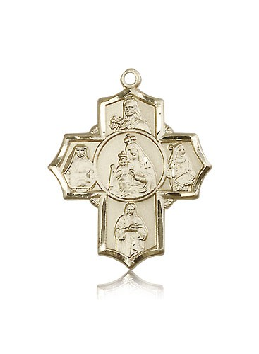 Mt Carmel 4 Way Cross Pendant, 14 Karat Gold - 14 KT Yellow Gold
