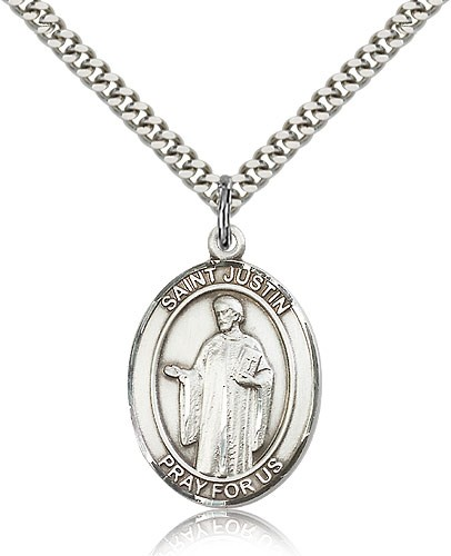 "St. Justin Medal, Sterling Silver, Large - 24"" 2.4mm Rhodium Plate Chain + Clasp"