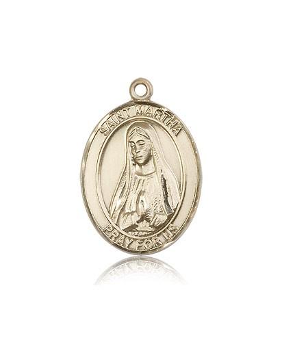 St. Martha Medal, 14 Karat Gold, Large - 14 KT Yellow Gold