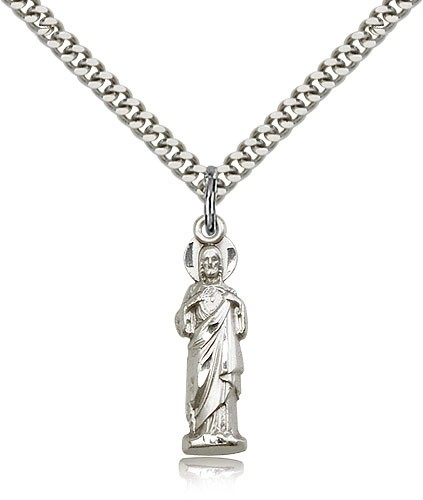 "Sacred Heart Medal, Sterling Silver - 24"" 2.4mm Rhodium Plate Endless Chain"