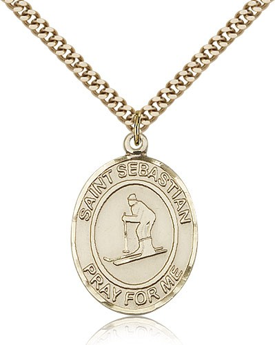 "St. Sebastian Skiing Medal, Gold Filled, Large - 24"" 2.4mm Gold Plated Chain + Clasp"