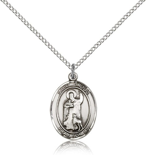 "St. Drogo Medal, Sterling Silver, Medium - 18"" 1.2mm Sterling Silver Chain + Clasp"