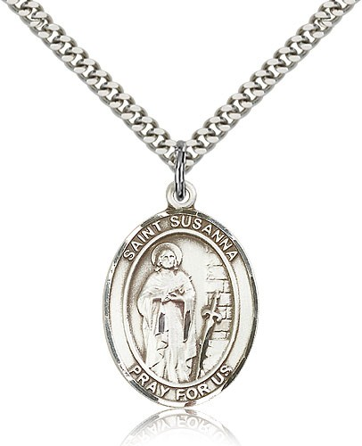 "St. Susanna Medal, Sterling Silver, Large - 24"" 2.4mm Rhodium Plate Chain + Clasp"