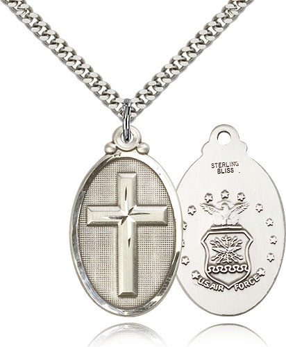 "Air Force Cross Pendant, Sterling Silver - 24"" 2.4mm Rhodium Plate Endless Chain"