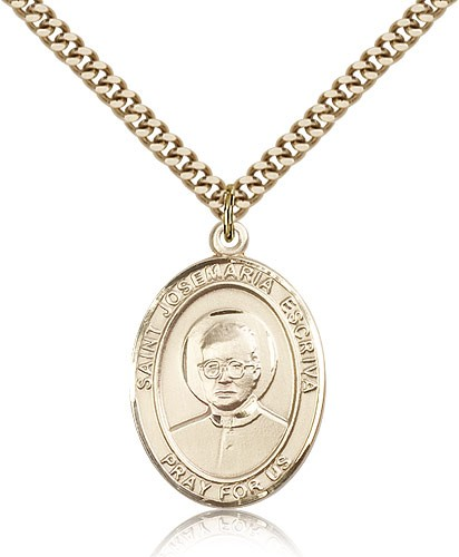 "St. Josemaria Escriva Medal, Gold Filled, Large - 24"" 2.4mm Gold Plated Chain + Clasp"