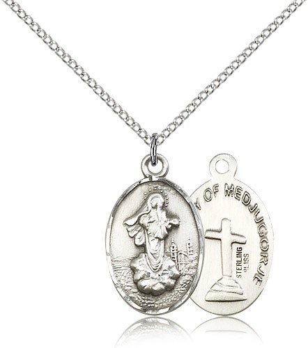 "Our Lady of Medugorje Medal, Sterling Silver - 18"" 1.2mm Sterling Silver Chain + Clasp"