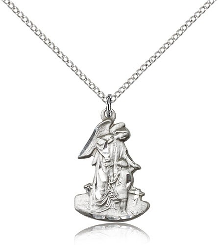 "Guardian Angel Medal, Sterling Silver - 18"" 1.2mm Sterling Silver Chain + Clasp"