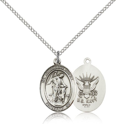 "Guardian Angel Navy Medal, Sterling Silver, Medium - 18"" 1.2mm Sterling Silver Chain + Clasp"